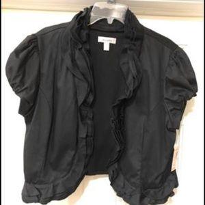 Women's crop ruffle short sleeve blazer